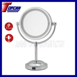 Double Side Metal Standing LED Cosmetic Mirror