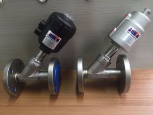 Pneumatic Actuated Angle Seat Valve Flange Type Symbol Piston Valve 3/4 Inch pictures & photos