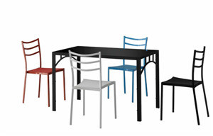 Metal Powder Coating Dining Table with Chairs pictures & photos