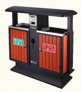 Outdoor Waste Bin with Plastic Wood Made in China (HW-102) pictures & photos