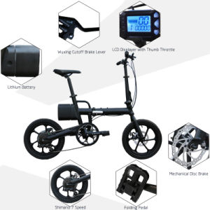 16 Inch Aluminium Alloy Lightweight Folding Ebike with Shimano 6 Speed (CMS-F16) pictures & photos