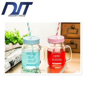2016 Creative Gradient Color Glass Bottle Beer Mug with Handle pictures & photos