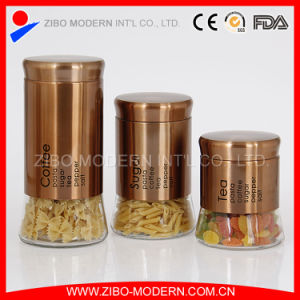 Stainless Steel Coated Cylinder Glass Jar with Lid pictures & photos