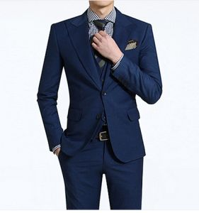 100% Wool Men′s Wedding Dress Navy Suit pictures & photos