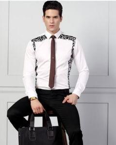 Men′s White Cotton Shirt with Leopard- Print pictures & photos