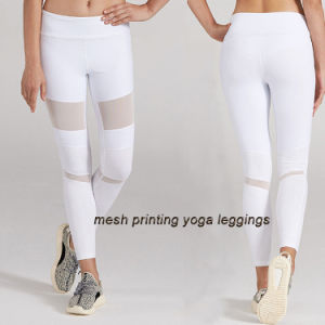 Stretchy Mesh Cooling Rubber Printing Dry Fit Women Leggings Tights pictures & photos