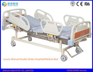 China Factory ISO/Ce Hospital Furniture Manual Double Shake Medical Beds pictures & photos