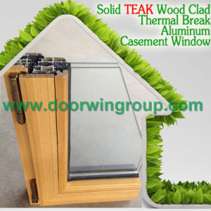 Wood Color Aluminum Casement Window, European & American Casement Style Aluminium Wooden Window pictures & photos
