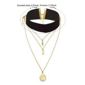 2 Colors Velvet Gold Plated Leaf Round Pendants Multilayer Choker Necklaces pictures & photos