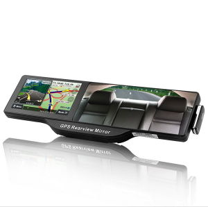 Bluetooth Rearview Mirror with Built-in GPS Navigation (5 Inch HD Touchscreen)