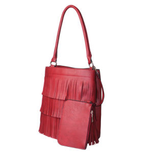 Fashion PU Tassel Ladies Tote Bag with Purse pictures & photos