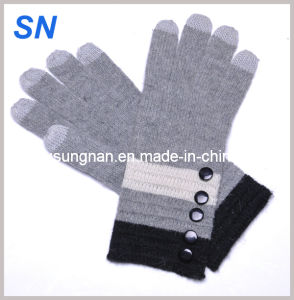 Fashion Lady Grey Elegant Long Touch Screen Wool Gloves pictures & photos