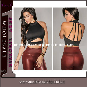 New Design Lady Black Halter Cropped Tank Tops (T25163) pictures & photos