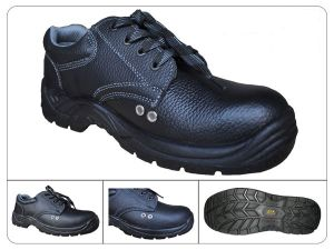 Black Printed Leather Summer Breathable Safety Shoes Ce En 20345 pictures & photos