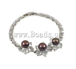 Cultured Freshwater Pearl Brass Bracelet, with Rhinestone (120516193226)