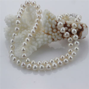 Snh 7mm Near Round White Pearl Jewelry Set pictures & photos