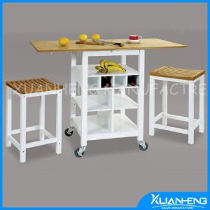 White Classical MDF Kitchen Trolley with Solid Bamboo Table Top pictures & photos
