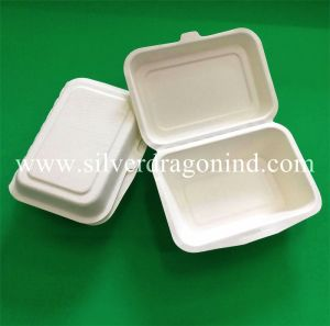 Compostable Biodegradable Tableware Sugarcane Bagasse Paper Clamshell pictures & photos