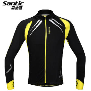 New Santic Men′s Outdoor Cycling Fleece Thermal Long Sleeve Jersey Size M--Xxl