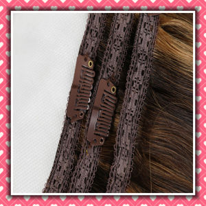 Quality Piano Color Clip-on Human Hair Silky Straight 14inches pictures & photos