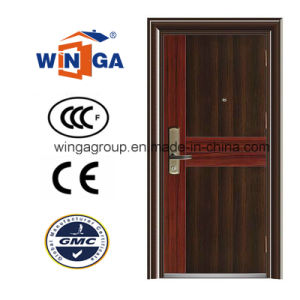 Simple Single Leaf Heatransfer Color Security Steel Door (W-S-06) pictures & photos