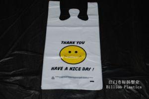 HDPE Smile Face Handle Bag T-Shirt Bag Plastic Bag Shopping Bag Garbage Bag Rubbish Bag T-Shirt Bag Carrier Bag Polybag Gusset Bag pictures & photos