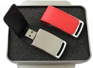 New Leather Metal USB Flash Drive 16GB PU Leather 64GB 32GB 16GB 8GB USB 2.0 Flash Driver 64GB Pen Drive U Disk Flash Drive Gift pictures & photos