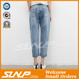 Street Fashion Strench Stratch &Ripped Women Ninth Jean Pants Clothes pictures & photos