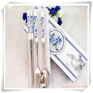 Promotional Blue and White Porcelain of Stainless Steel Tableware pictures & photos