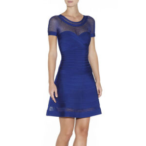 Short Sleeve Mesh Vail A-Line Flare Real Silk Ladies Dress pictures & photos