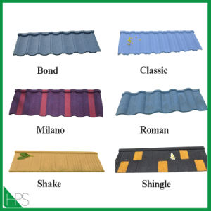 Happiness Aluminum Znic Rustless Stone Tile Roofing Material Stone Coated Metal Roof Tile pictures & photos