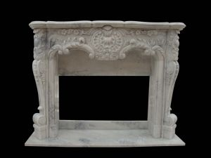 White Marble Flower Carving Fireplace (FRP530) pictures & photos