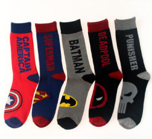 Factory America Hero Series Superman Captain America Calf Men′s Socks pictures & photos