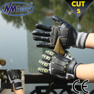 Nmsafety TPR Sewing Anti-Impact Mechanic Glove pictures & photos