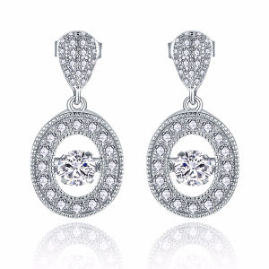 Full Diamond Dangle Earrings 925 Silver Jewelry with Dancing Stone pictures & photos