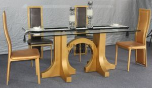 Modern Golden Glass Dining Table pictures & photos