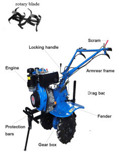 Air-Cooled Walking Tractor Mini Rotary Tiller, Power Tiller