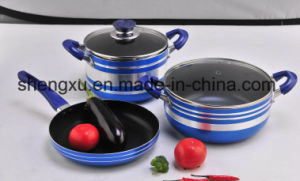 Non-Stick Coated Aluminium Pots and Frying Pans Cookware Set SX-T004 pictures & photos