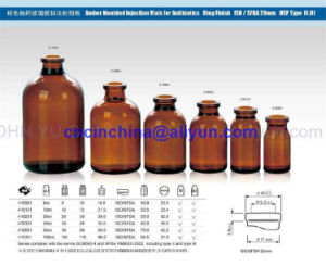 Amber Moulded Injection Vials for Antibiotics pictures & photos