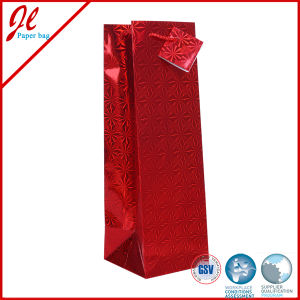 Luxurious Gold Reinforced Gift Wine Bottle Paper Bags with Handle and Tag pictures & photos