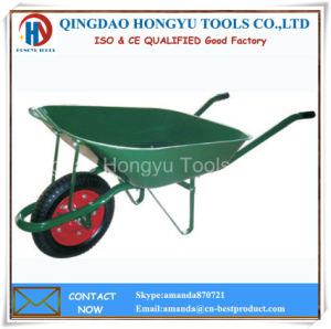 Painted Metal Tray Solid Rubber Wheel Barrow pictures & photos