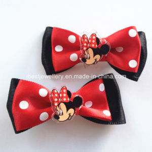 Kids Hair Accessories- Fabric Bow with Plastic Charm Stud Clip /Hair Clips pictures & photos