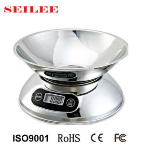High Glossy Stainless Steel 5kg Digital Household Kitchen Scale with Bowl pictures & photos