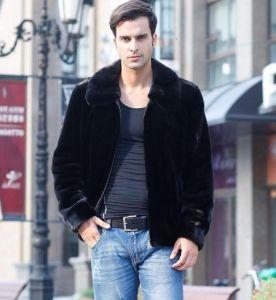 Short Lapel Faux Mink Fur Coat for Men Jacket Clothes pictures & photos