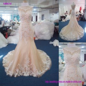 2017 China Manufa⪞ Ture Wholesale Sleeveless Bodi⪞ E Sheath Wedding Dress with La⪞ E E≃ Tend Below The Waist and Edge of The Skirt pictures & photos