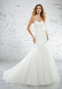 Chiffon Bridal Gown Simple Pleated Tulle Wedding Dresses S6886 pictures & photos