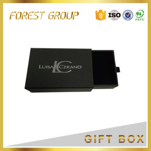 Black Drawer Packaging Box with Logo Silver Stamping pictures & photos