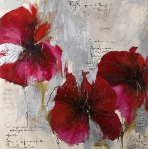 Modern Abstract Flower Decorative Oil Painting Beautiful Red Flower Handmade Canvas Painting Textured Wall Art