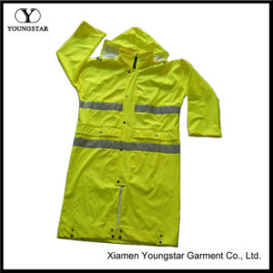 Wholesale PU Coating Safety Rain Coat with Reflective Tape pictures & photos