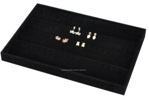 Stackable Black Soft Velvet Jewelry Tray Earring Showcase Display Storage pictures & photos